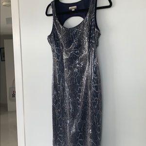 Boston Proper snakeskin sequin mini dress,